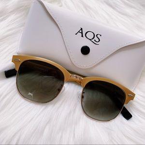 AQS Gold Sunglasses 100% authentic